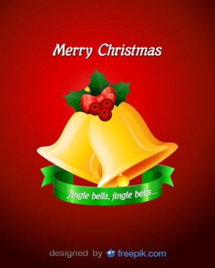 Merry Christmas Bells with Decorative Holly Free Vector