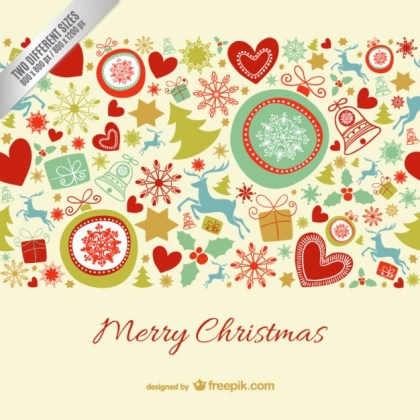 Merry Christmas Card with Colorful Ornaments Free Vector