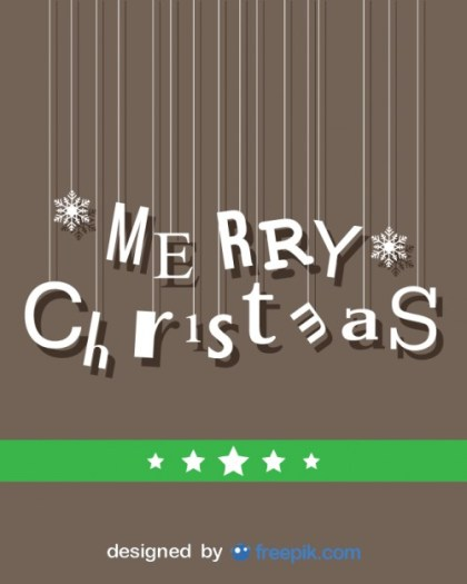 Merry Christmas Card with Hanging Letters Free Vector