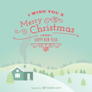 Merry Christmas Card with Snowy Landscape Free Vector