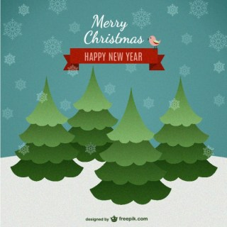 Merry Christmas Card with Snowy Trees Free Vector