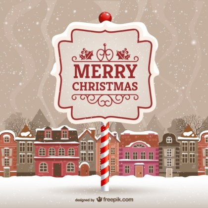 Merry Christmas Card with Urban Landscape Free Vector