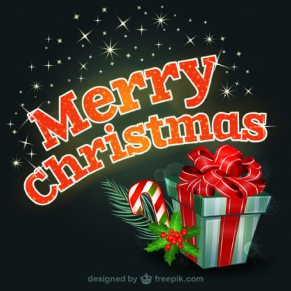 Merry Christmas Colorful Typograhy Free Vector