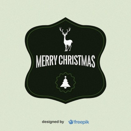 Merry Christmas Label with a Deer in The Upper and Christmas Tree in The Bottom Free Vector