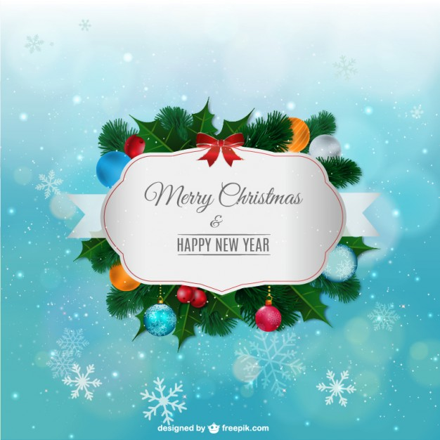 Merry Christmas Label with Ornaments Free Vector