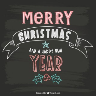 Merry Christmas Lettering with Blackboard Texture Free Vector