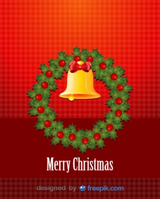 Merry Christmas with a Decorative Christmas Circle with a Big Bell Free Vector