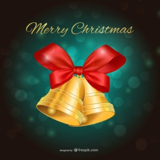 Merry Christmas with Bells and Green Background Free Vector