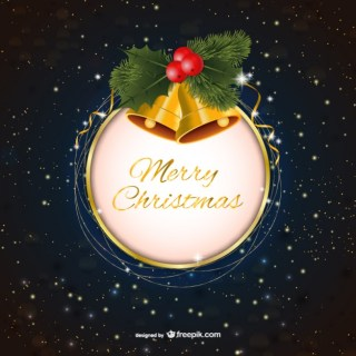 Merry Christmas with Bells Free Vector