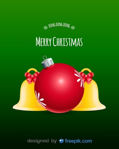 Merry Christmas with Decorative Balls and Bells Free Vector