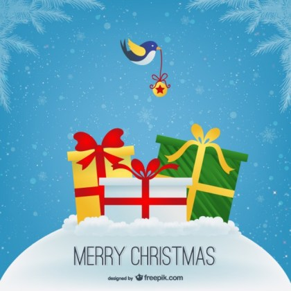 Merry Christmas with Presents Free Vector