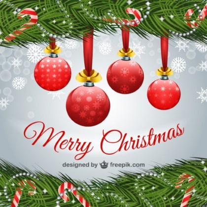 Merry Christmas with Red Balls Free Vector