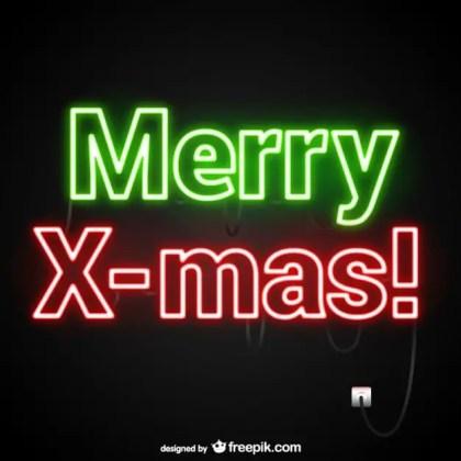 Merry Xmas Neon Free Vector