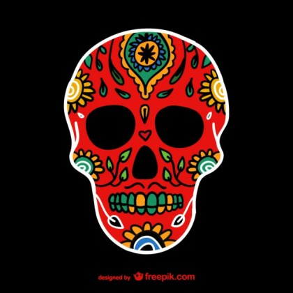 Mexican Colorful Skull Free Vector