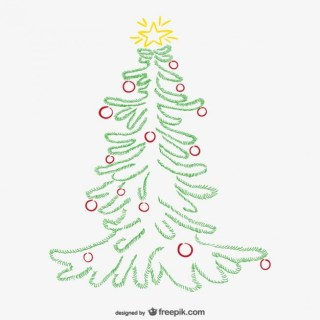 Minimalist Christmas Tree with Ornaments Free Vector
