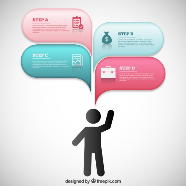 Modern Infographic with Speech Bubbles Free Vector