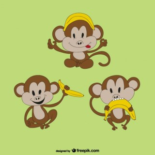 Monkey with Banana Free Vector