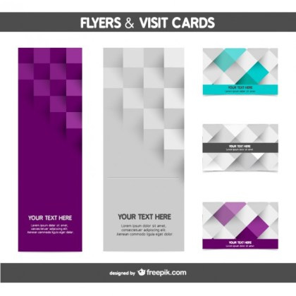 Mosaic Flyer and Card Templates Free Vector
