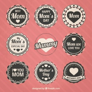 Mothers Day Badges Collection Free Vector