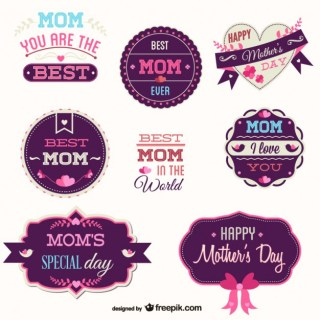 Mothers Day Badges Set Free Vector
