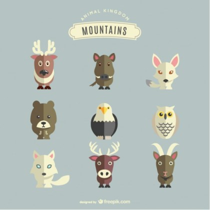 Mountains Animals Set Free Vector