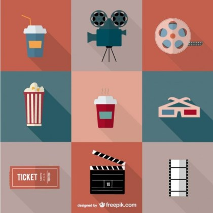 Movie Cinema Icons Free Vector