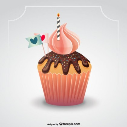 Muffin with Candle Free Vector
