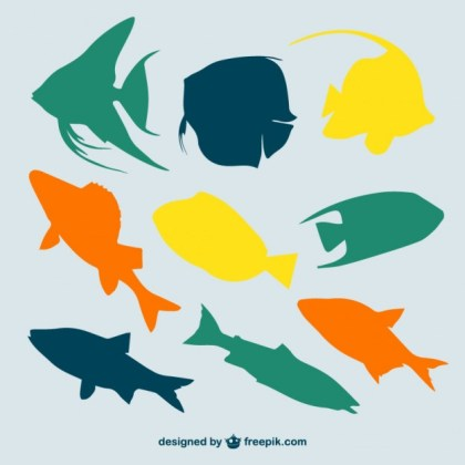 Multicolor Fish Silhouettes Free Vector