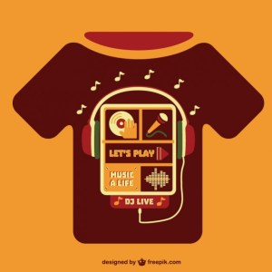 Music Concept T-Shirt Template Free Vector