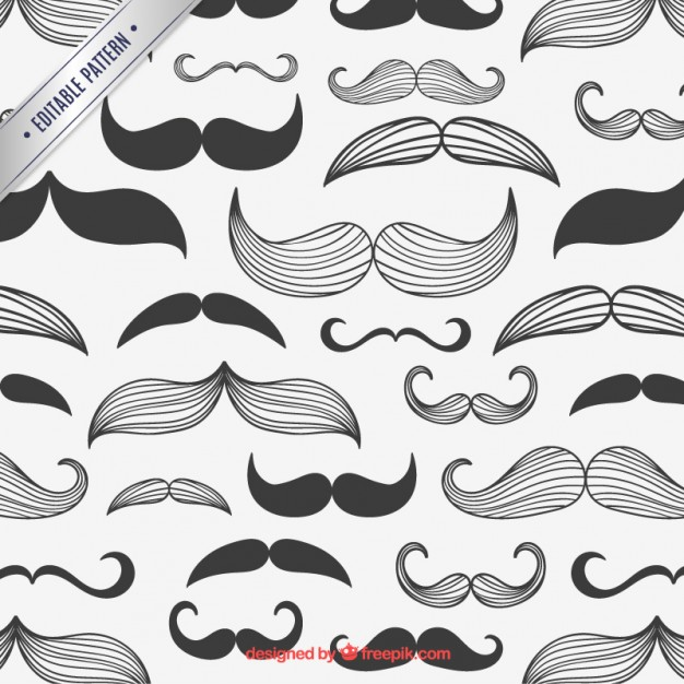 Mustaches Pattern Free Vector