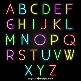 Neon Alphabet Letters Free Vector