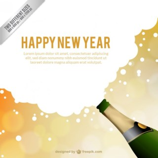 New Year Card Template Free Vector