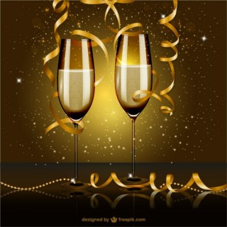 New Year Eve Party with Glasses of Champagne Free Vector