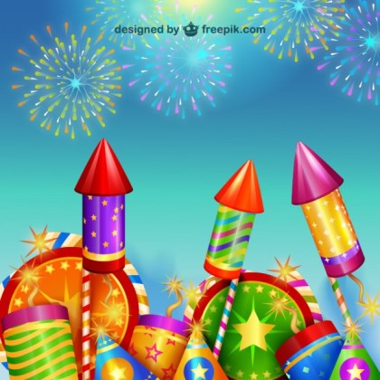 New Year Party Fireworks Free Vector
