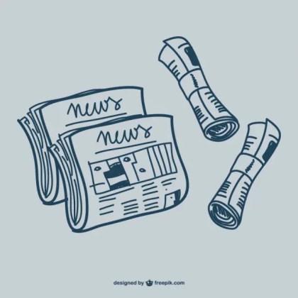 Newspaper Doodle Graphics Free Vector