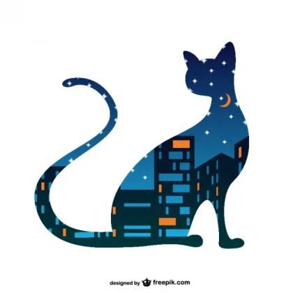 Night Cat Art Free Vector