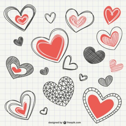 Notebook Heart Drawings Free Vector