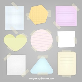 Notes with Sticky Tape Free Vector