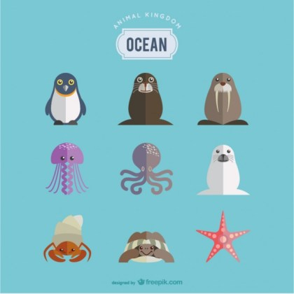 Ocean Animals Set Free Vector