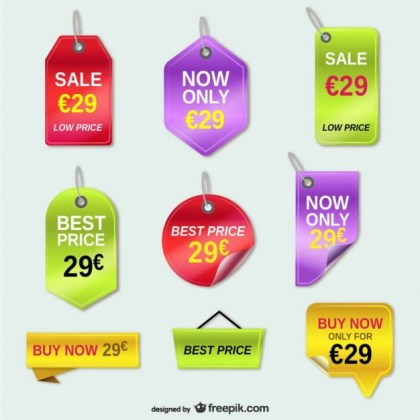 Offer Price Tags Set Free Vector