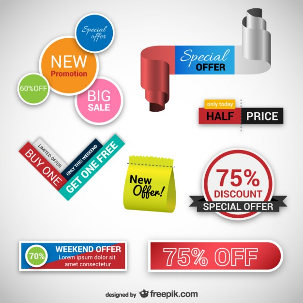 Offers Stickers Packs Free Vector