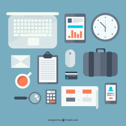 Office Objects Flat Design Free Vector