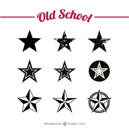 Old School Stars Set Free Vector