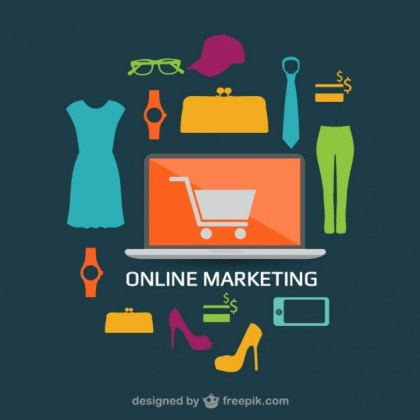 Online Shopping Flat Design Concept Image Free Vector