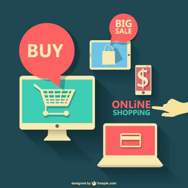 Online Shopping Flat Graphics Free Vector