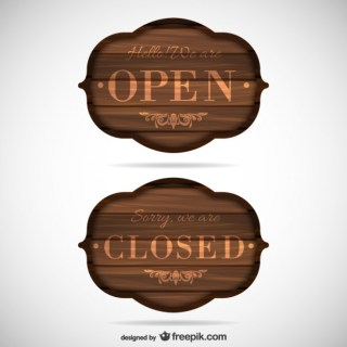 Open and Closed Wooden Signs Free Vector