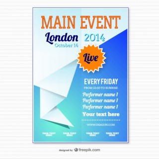 Origami Event Poster Template Free Vector