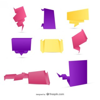 Origami Stickers Pack Free Vector