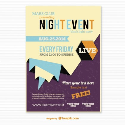 Origami Style Party Poster Free Vector