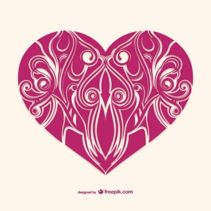 Ornamental Valentine Heart Card Free Vector